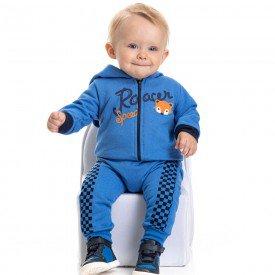 conjunto bebe masculino jaqueta racer com capuz e calca saruel com quadriculado azul palacio 4884 9747