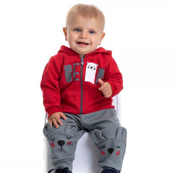 conjunto bebe masculino jaqueta bear com capuz e calca com aplique vermelho chumbo 4878 9760
