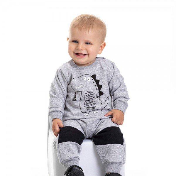 conjunto bebe masculino moletom dino e calca mescla preto 4870 9740