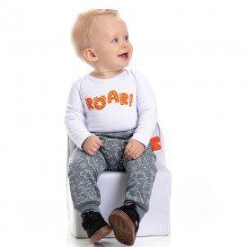 conjunto bebe masculino body roar e calca saruel dino branco chumbo 4872 4947 9744