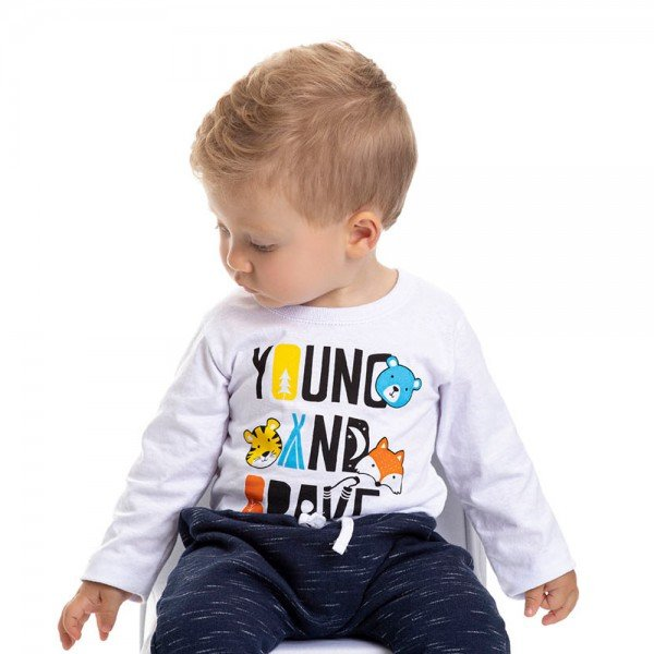 camiseta bebe masculina young and brave branca 4880 9766