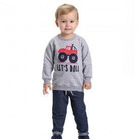 conjunto infantil masculino moletom let s roll e calca cotton jeans mescla marinho 4900 9798