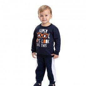 conjunto infantil masculino moletom super cool e calca marinho branco 4888 9777