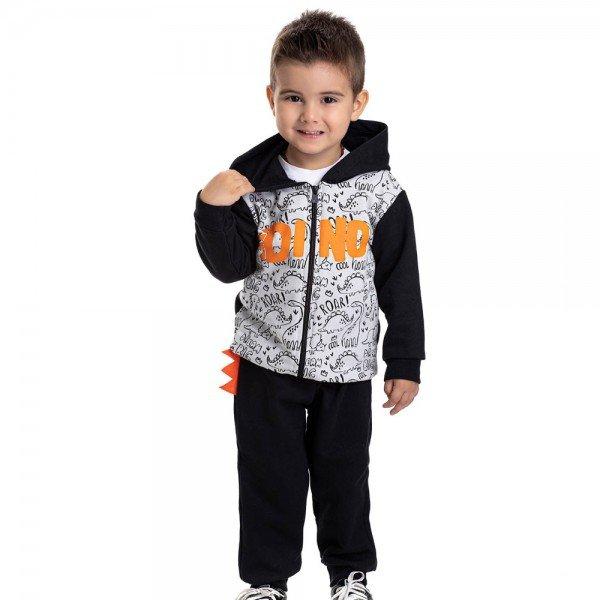 conjunto infantil masculino jaqueta dino com capuz e calca preto cinza claro 4897 9791