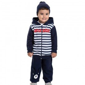 conjunto infantil masculino jaqueta cute bear com capuz e calca marinho 4896 9788