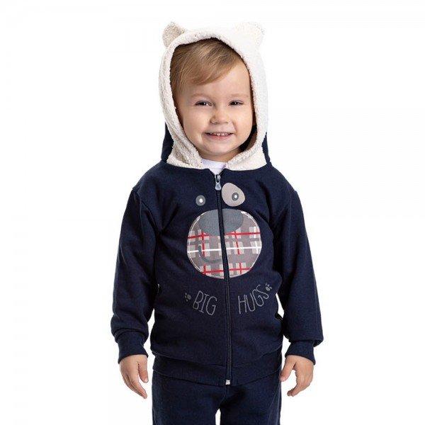 jaqueta infantil masculina ursinho moletom com detalhe em pelo marinho off 4895 9786