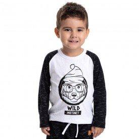 camiseta infantil masculina cachorrinho meia malha branco preto 4903 9801