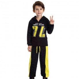 conjunto infantil masculino jaqueta 74 com capuz e calca preto lima 4915 9820