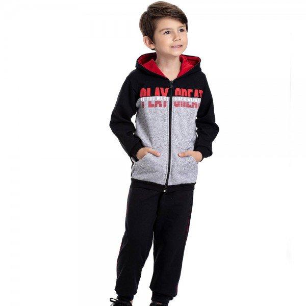 conjunto infantil masculino jaqueta play grate com capuz e calca mescla preto 4912 9816