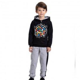 conjunto infantil masculino moletom dado magico com capuz e calca preto mescla 4914 9818
