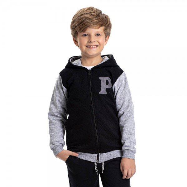 jaqueta infantil masculina matelasse e moletom preto mescla 4916 9821