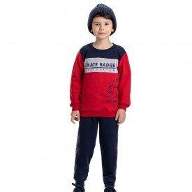 conjunto infantil masculino moletom skate e calca vermelho marinho 4909 9809