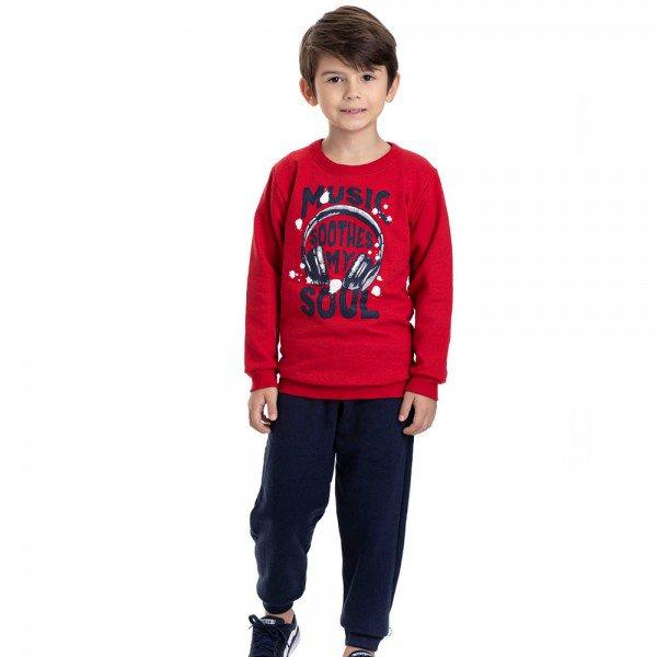conjunto infantil masculino moletom music e calca vermelho marinho 4911 9813