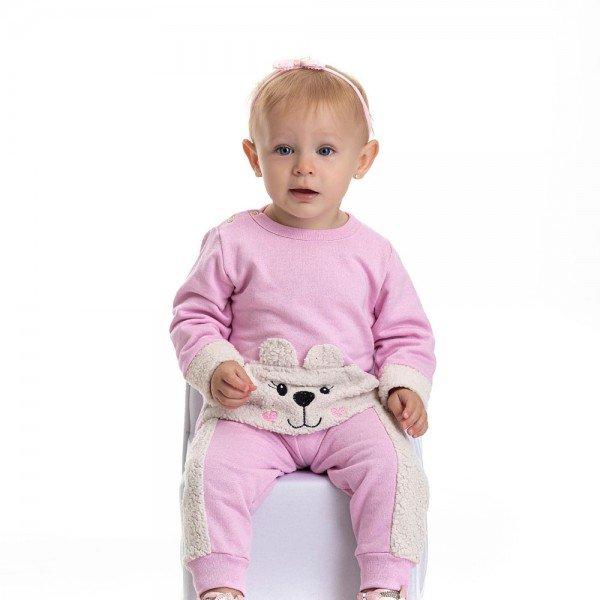 conjunto bebe feminino moletom ursinho em pelos rosa claro 4800 9833