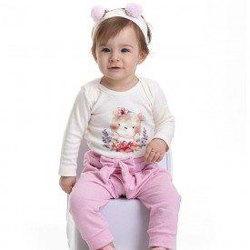 conjunto bebe feminino body urso e calca saruel faixa de brinde marfim rosa claro 4802 4939 9835
