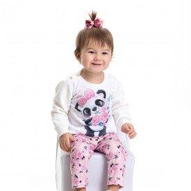 conjunto bebe feminino moletom e calca legging flores 4804 9837