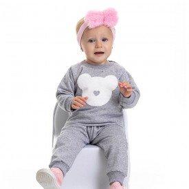 conjunto bebe feminino moletom urso mescla 4807 9838