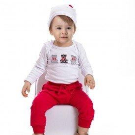 conjunto bebe feminino body ursinho e calca saruel touca de brinde branco pink 4808 4940 9841
