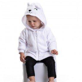 conjunto bebe feminino jaqueta pelo e calca legging cirre branco preto 4809 9843
