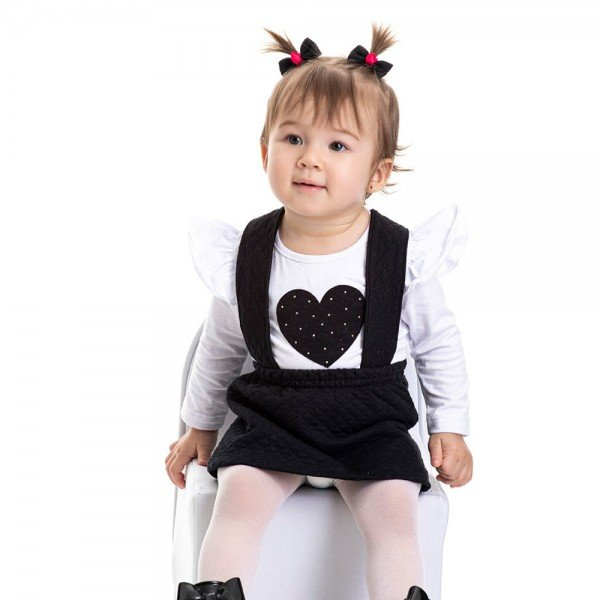 conjunto bebe feminino salopete preta e blusa branca 4812 9846
