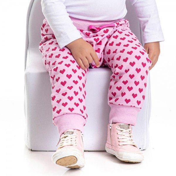 calca infantil feminina moletom coracao rosa claro 4816 4943 9910