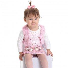 vestido bebe feminino suplex e colete em pelo off rosa claro 4817 9911