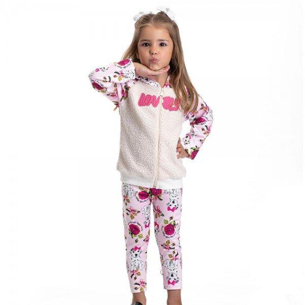 conjunto infantil feminino jaqueta e calca legging cachorrinho 4819 9851