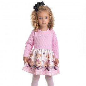 vestido infantil feminino matelasse ursinho rosa claro 4822 9853