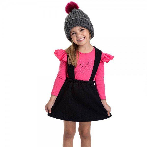 conjunto infantil feminino salopete preta e blusa rosa 4826 9858