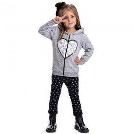 conjunto infantil feminino jaqueta e calca saruel coracao mescla preto 4827 9861