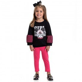 conjunto infantil feminino moletom gatinho preto rosa 4828 9863