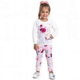 conjunto infantil feminino moletom e calca legging flores 4831 9865