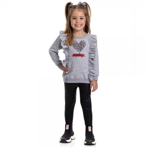 conjunto infantil feminino moletom e calca legging cirre mescla preto 4834 9869