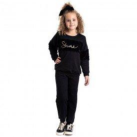 conjunto infantil feminino moletom shine preto 4840 9875