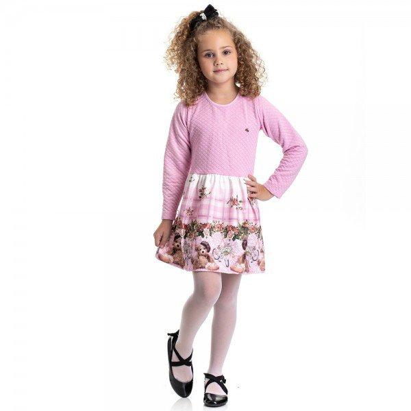 vestido infantil feminino matelasse ursinho rosa claro 4841 9877