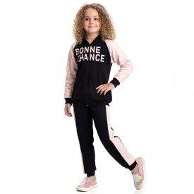 conjunto infantil feminino jaqueta e calca estrela preto salmao 4846 9888