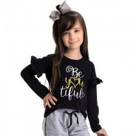 blusa infantil feminina beautiful preta 4851 9896