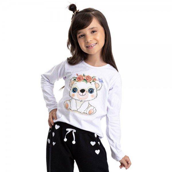 blusa infantil feminina urso branca 4854 9902