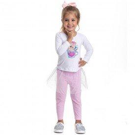 conjunto infantil feminino blusa e legging com saia em tule branco rosa claro 4833 9868