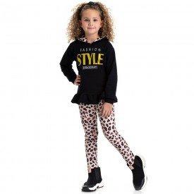 conjunto infantil feminino blusa style e calca legging oncinha preto preto 4845 9887 2