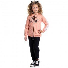 conjunto infantil feminino jaqueta cool e calca basica pessego preto 4837 9871