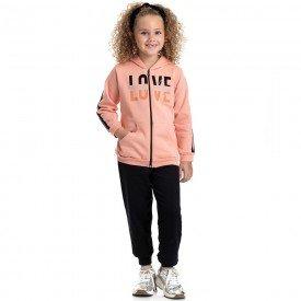 conjunto infantil feminino jaqueta love e calca basica pessego preto 4849 9893
