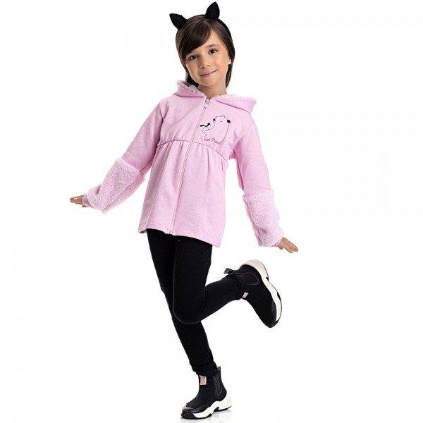 conjunto infantil feminino casaco pelinho e calca legging rosa claro preto 4842 9880