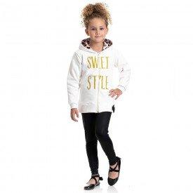 conjunto infantil feminino jaqueta sweet e calca legging cirre marfim preto 4843 9882