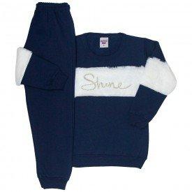 conjunto infantil feminino moletom shine azul marinho 4840 9876