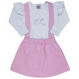 conjunto infantil feminino salopete rosa e blusa branca 4826 9860