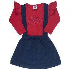 conjunto infantil feminino salopete marinho e blusa vermelha 4826 9859
