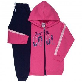 conjunto infantil feminino jaqueta cool e calca basica rosa marinho 4837 9872