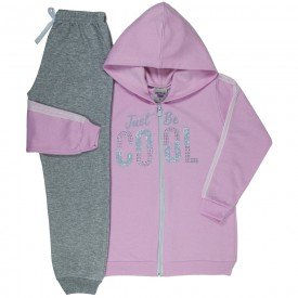 conjunto infantil feminino jaqueta cool e calca basica rosa claro mescla 4837 9873
