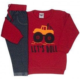 conjunto infantil masculino moletom let s roll e calca cotton jeans vermelho preto 4900 9800